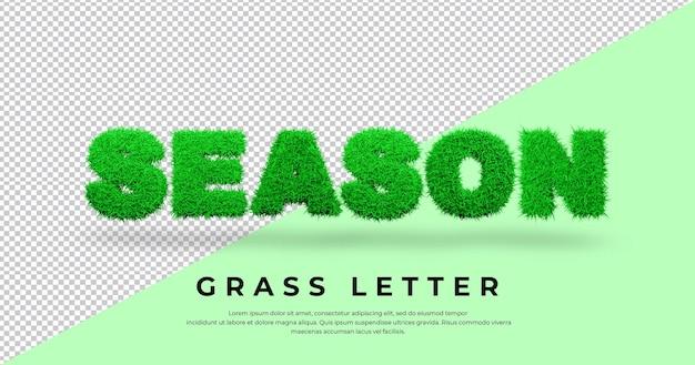 Efekt tekstowy sezonu z literą trawy w blenderze na białym tle