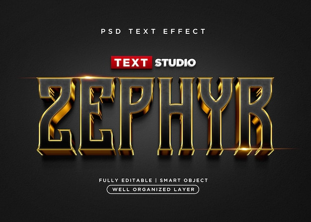 Efekt tekstowy w stylu 3d zefir