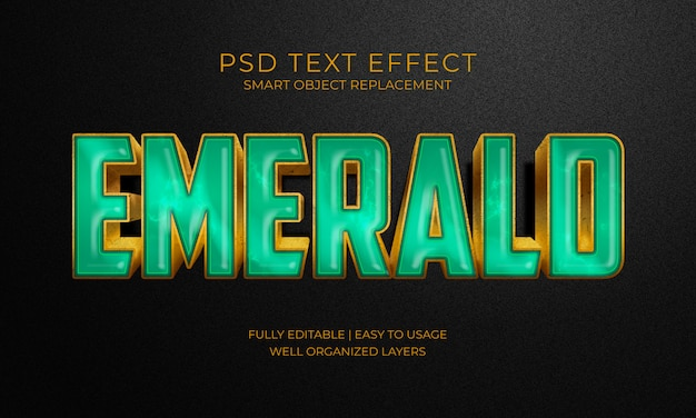 Efekt tekstu emerald zielony kamień