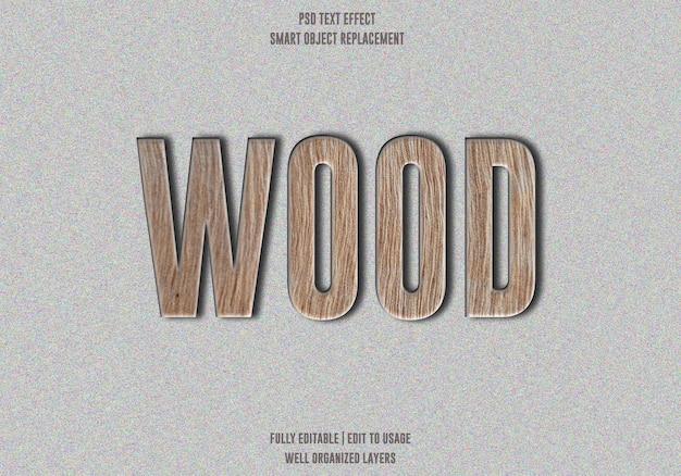 Efekt tekstu w drewnie premium psd