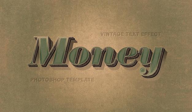 Efekt vintage tekst pieniędzy