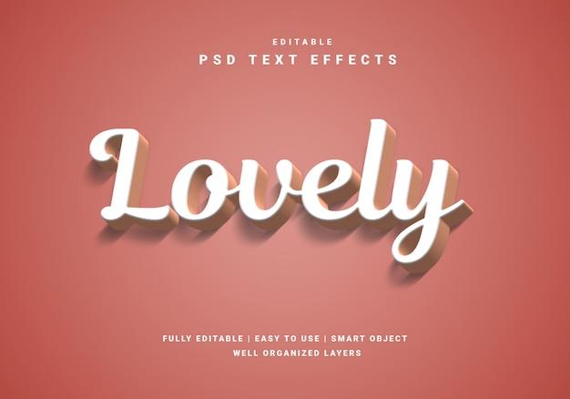Efekt w stylu valentine piękny tekst 3d
