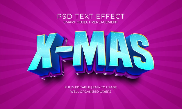 Efekt x-mas blue text