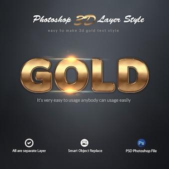 Efekty tekstowe 3d gold photoshop layer style