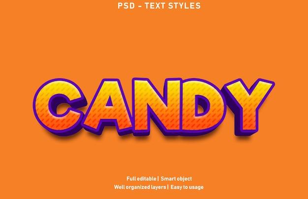 Efekty tekstowe w stylu cukierków premium edytowalne