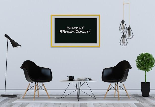 Egzamin próbny w górę plakat ramy w wewnętrznym pokoju dziennym i krześle, 3d odpłacają się