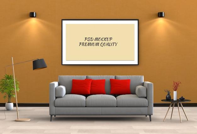 Egzamin próbny w górę plakatowej ramy w wewnętrznym żywym pokoju i kanapie, 3d odpłaca się