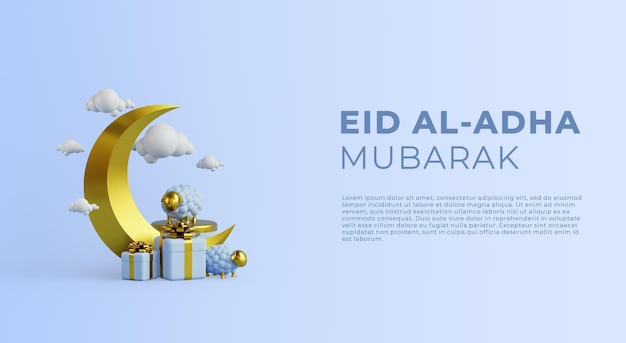 Eid al adha mubarak szablon tła z renderowaniem 3d owiec i księżyca