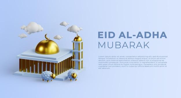 Eid al adha mubarak tło z meczetem i renderowaniem 3d owiec