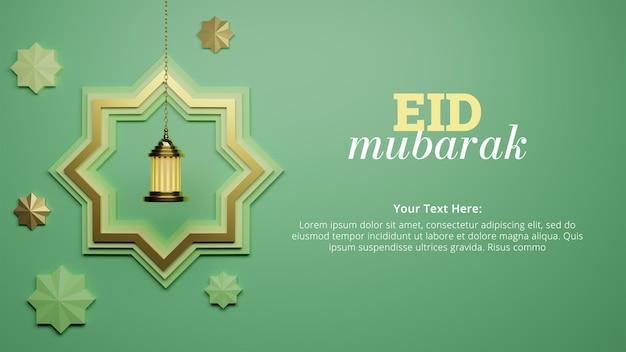 Eid al fitr z wiszącą gwiazdą i latarnią na post w mediach społecznościowych