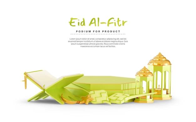 Eid mubarak 3d tło z podium i ketupat