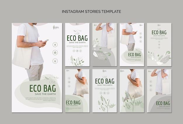 Ekologiczna torba do recyklingu dla historii instagram środowiska