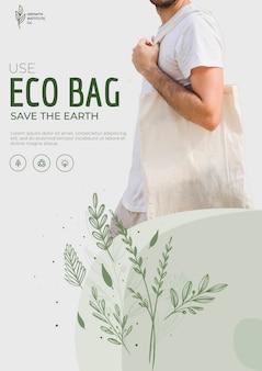 Ekologiczna torba recyklingu szablonu ulotki środowiska