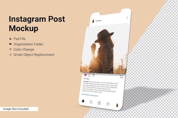 Ekran aplikacji instagram post makieta na białym tle