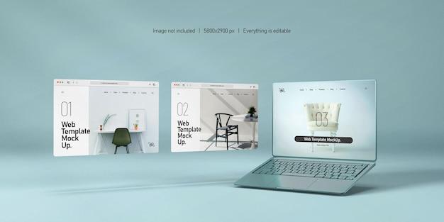 Ekran laptopa z makieta prezentacji strony internetowej na białym tle