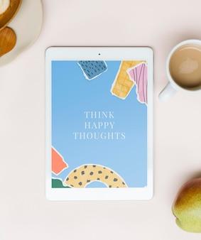 Ekran Tabletu Z Zgranym Papierowym Kolażem Tapety Na Płasko Darmowe Psd