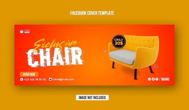 Ekskluzywny szablon okładki na facebook sprzedaż krzesła