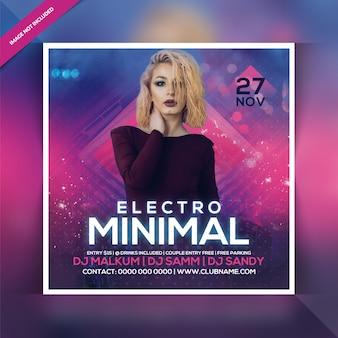 Electro minimal party flyer