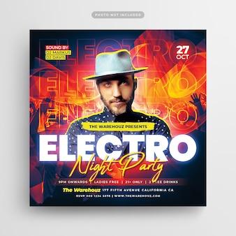 Electro night party flyer post w mediach społecznościowych i baner internetowy