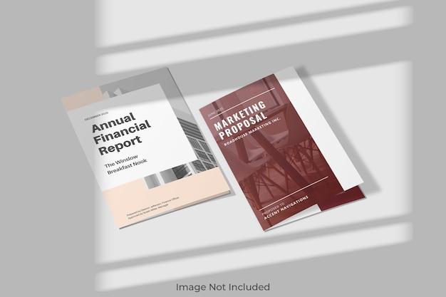 Elegancka bifold makieta broszury z cieniem