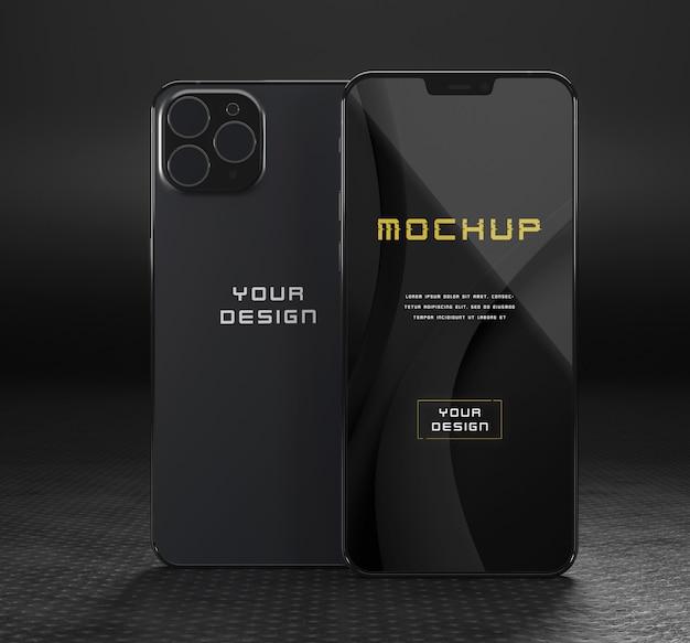 Elegancka, błyszcząca, ciemna makieta smartfona