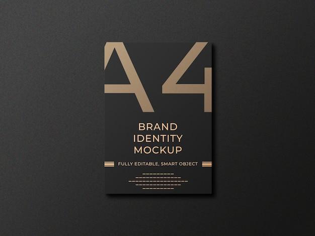 Elegancka czarna makieta koperty a4 premium psd