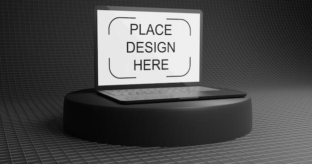 Elegancka czarna makieta laptopa