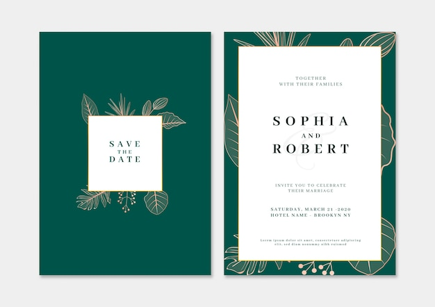 Elegancka karta zaproszenie na ślub z koncepcją przyrody