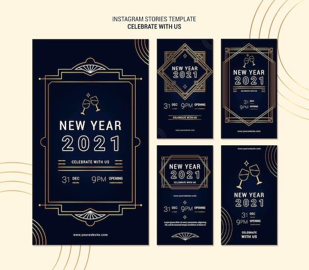 Elegancka kolekcja opowiadań na instagramie na imprezę noworoczną