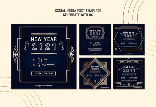 Elegancka kolekcja postów na instagramie na imprezę noworoczną