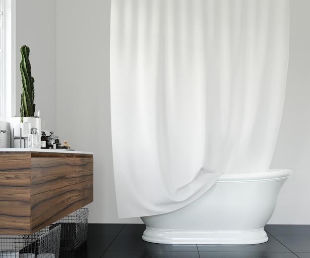 Elegancka łazienka z białą zasłoną
