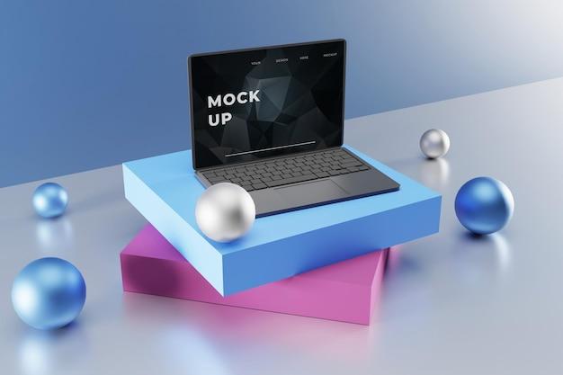 Elegancka makieta laptopa z kolorowym podium