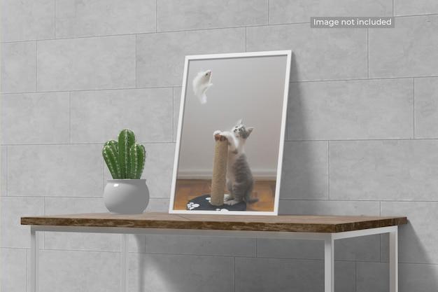 Elegancka makieta minimalistycznych ramek stojących w stole