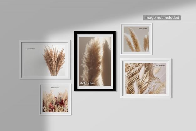 Elegancka makieta minimalistycznych ramek wisząca na ścianie