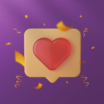 Elegancka miłość do mediów społecznościowych i jak ikona 3d ze złotym konfetti