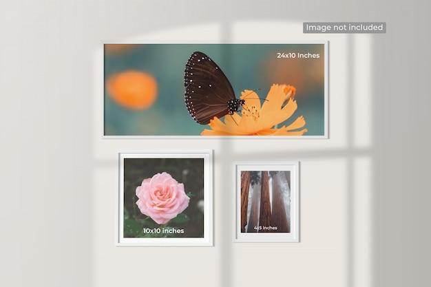 Elegancka minimalistyczna makieta ramek do zdjęć wisząca na ścianie