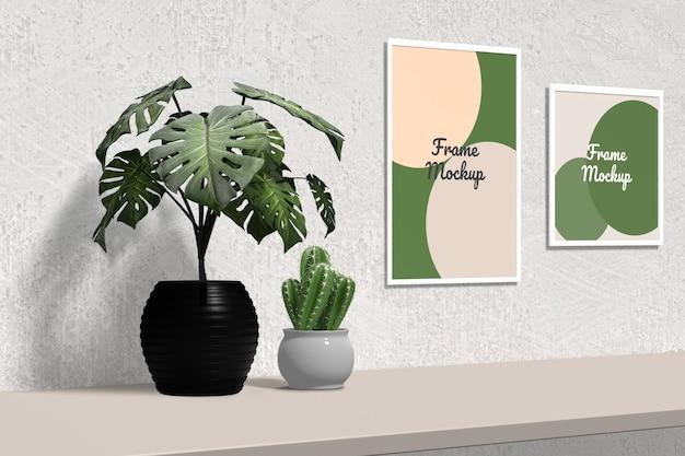 Elegancka minimalistyczna makieta ramki na zdjęcia wisząca na ścianie