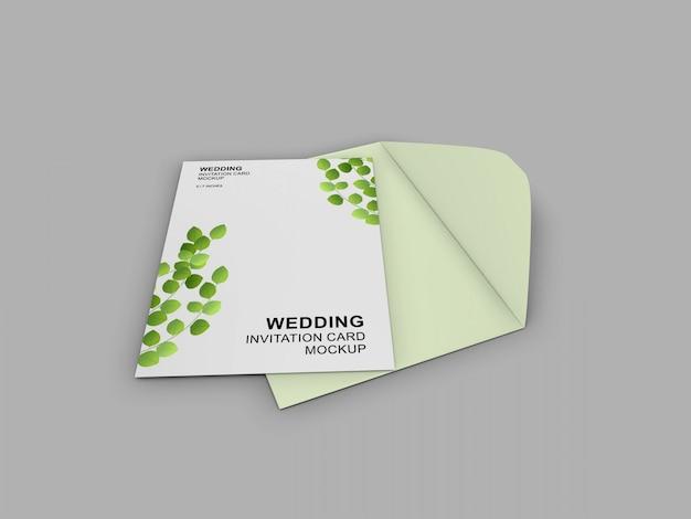 Elegancka prosta i czysta karta ślubna z szablonem makieta koperty