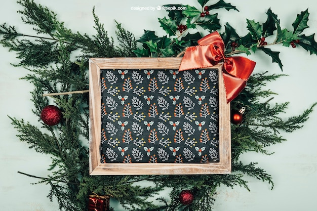 Elegancka ramka makieta z wzorem christmtas
