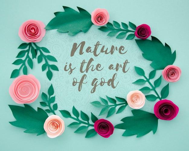Elegancka ramka w kwiaty z pozytywnym cytatem
