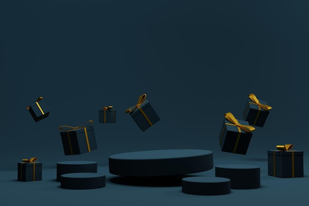 Elegancka scena podium renderowania 3d na boże narodzenie w tle