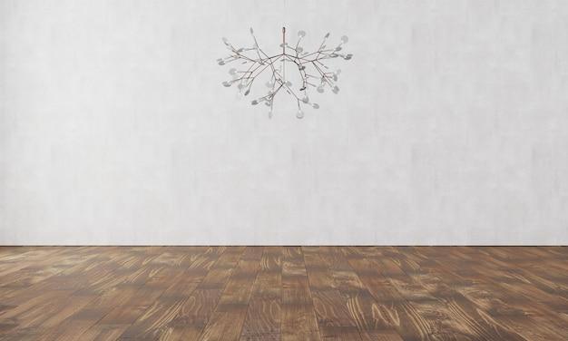Elegancka ściana z nowoczesną lampą i parkietem