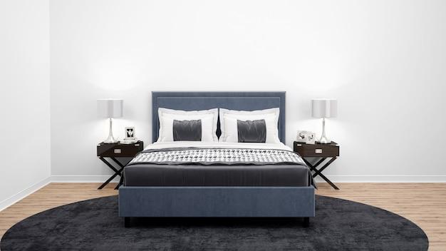 Elegancka sypialnia lub pokój hotelowy z podwójnym łóżkiem i drewnianymi meblami
