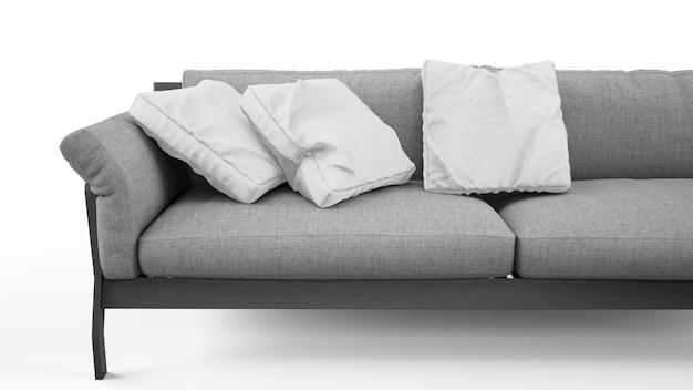 Elegancka szara sofa z poduszkami na białym tle