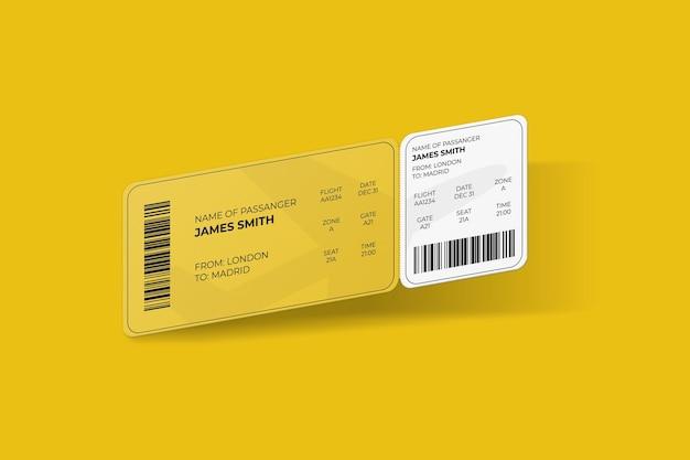 Elegancka, zaokrąglona narożna karta pokładowa lub makieta biletu lotniczego