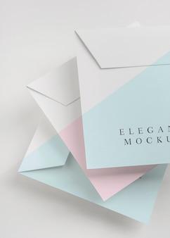 Elegancki asortyment makiety zaproszeń