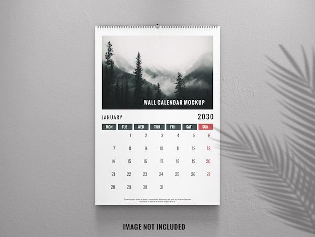 Elegancki kalendarz ścienny z makiety widoku z przodu