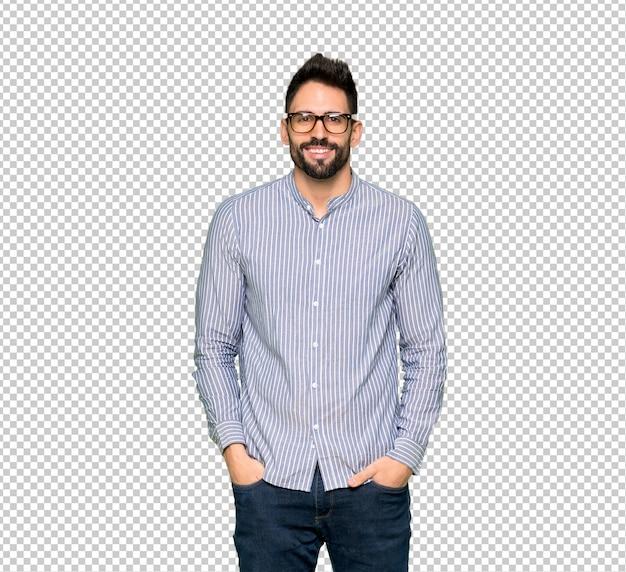 Elegancki mężczyzna z koszuli w okularach i szczęśliwy