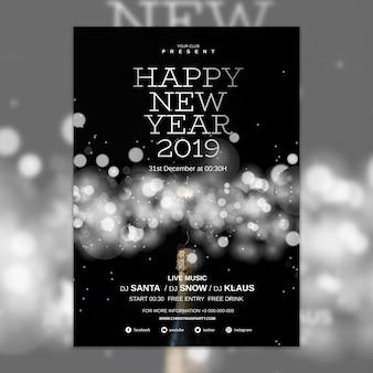 Elegancki nowy rok szablon okładki
