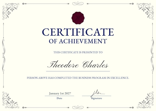 Elegancki ozdobny szablon certyfikatu psd w kolorze beżowym i czarnym